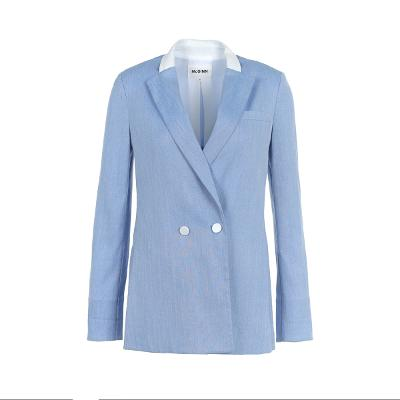 white two button point jacket skyblue